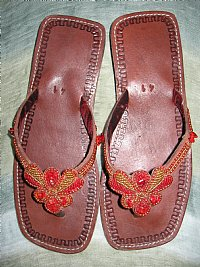 African Beaded Sandals with Red Stones