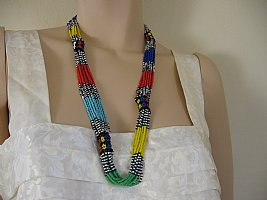African Flower Patterned Multi Color Bead Necklace
